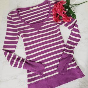 Old Navy Long Sleeve Shirt Striped Purple Small